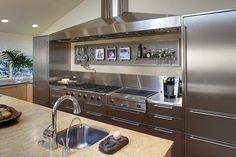 stainless steel kitchen Glencoe Residence 3 by Handman Associates Metal Kitchen Cabinets, Kitchen Cabinet Design, Kitchen Interior, Kitchen Decor, Kitchen Hoods, Decorating Kitchen, Kitchen Ideas, Kitchen Appliances, Luxury Kitchens