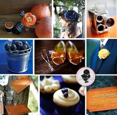 Burnt orange and navy blue wedding