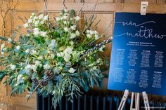 A stunning pedestal display from the church ceremony flowers brought back to Coombe Lodge as decoration alongside the Table Plan. Winter designs at Coombe Lodge by Bristol florists, The Wilde Bunch. Lodge Wedding, Wedding Venues, Church Ceremony, Wedding Breakfast, Table Plans, Wedding Season, Bristol, Wedding Flowers, Florists