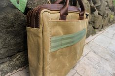#brown Bloke #Briefcase #leather #minimal #simple #innovation #modern #waxed canvas