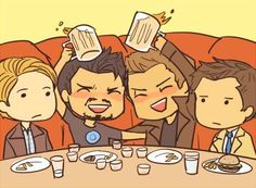 Captain America, Tony Stark, Dean Winchester, and Castiel. Not sure what they are all doing together, but I'd enjoy their company.