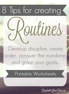 AWESOME series on creating routines to help us develop discipline and accomplish everything as moms. Great for homeschoolers and any busy family. Free printable worksheets to help you plan your routine and schedule.