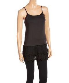 58bd3d349c0f3 Polka Dotsy Black Lace-Trim Cami Shirt Extender by