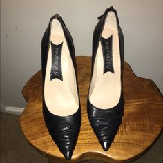Boutique 9 Black Pointy Toe Heels Size 9.5 very gently used in nearly excellent condition. Only worn 1 - 2 times inside work office. About 3.5 inches high. Beautiful front detail. Leather upper. Boutique 9 Shoes Heels