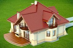 Wizualizacja DN Modena CE Two Story House Design, Village House Design, Simple House Design, Bungalow House Design, House Front Design, Modern House Design, Small House Layout, House Layouts, Dream House Plans