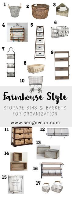 Farmhouse Style Storage: Organizing using baskets, buckets and bins - awesome collection of storage systems that are super cute!
