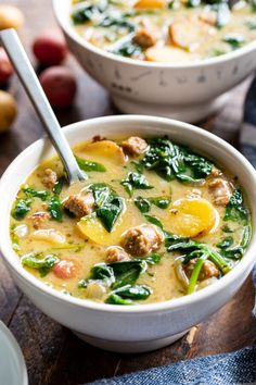 This savory and hearty Sausage Potato Soup with Spinach is a quick and easy comforting meal made in one pot thats packed with flavor and nutrients. Its Paleo dairy-free gluten-free compliant and perfect for healthy weeknight dinners. Smoke Sausage And Potatoes, Sausage Potato Soup, Cheap Clean Eating, Clean Eating Snacks, Paleo Dairy, Dairy Free, Gluten Free, Paleo Recipes, Soup Recipes