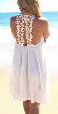 White floral back dress