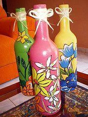 Resultado de imagem para garrafas decoradas com tecido