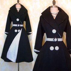 Vintage 40s Fit Flare Dress Coat Polka Dot Rayon Charcoal Wool Full Skirt s M   eBay