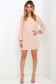 Guiding Light Blush Long Sleeve Shift Dress at Lulus.com!