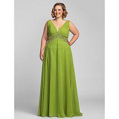 Formal Evening/Prom/Military Ball Dress - A-line V-neck Floor-length Chiffon – USD $ 139.99