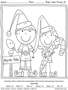 bright ideas for the holidays christmas math puzzles color by the code to practice basic addition and subtraction math facts in december winter
