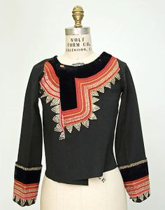 metropolitan museum of art; Jacket    Date:      19th century  Culture:      French (Breton peoples)  Medium:      wool, wool thread, metal thread, glass beads  Dimensions:      Length: 18 1/2 in. (47 cm)  Credit Line:      Purchase, 1906 (through Sir Purdon Clark)