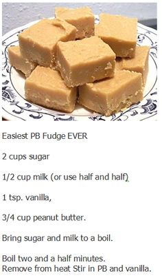 Easiest PB Fudge EVER, would add a lil bit of Hersheys dark cocoa Fudge Recipes, Candy Recipes, Baking Recipes, Dessert Recipes, Easy Desserts, Delicious Desserts, Yummy Food, Fun Food, Irish Recipes