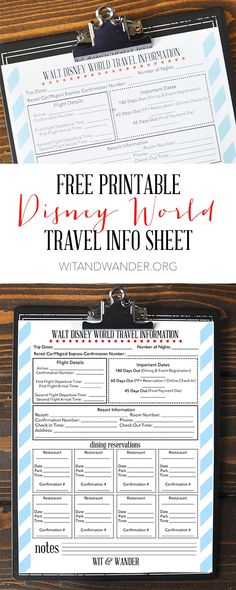 Printable Disney World Travel Info Sheet - Wit & Wander Pinterest