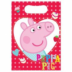 Peppa Pig Plastic Party Loot Bags http://tidd.ly/93bc71d2 #peppapiggifts #peppaandgeorge #peppapigparty