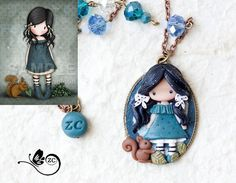 polymer clay necklace / fairy/ fimo/ clay / zingara creativa/gorjuss collection