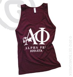 ALPHA PHI CUSTOM GROUP ORDER TANK!! I'm getting one of these before I graduate or else. This is SO cute