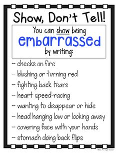My students have such a hard time with adding description to their writing. These Show Don't Tell charts help elementary students to write with more expression and to show action. Each anchor chart co Creative Writing Tips, Book Writing Tips, Writing Promps, Writing Characters, Writing Words, Writing Lessons, Writing Workshop, Writing Resources, Teaching Writing