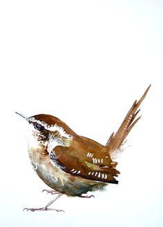 """Watercolor Painting, Bird, Original Art, Wren, 11""""x15"""""""