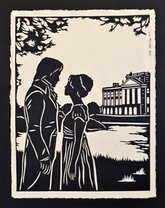 Pride and Prejudice - Elizabeth and Darcy at Pemberley - Hand-Cut Silhouette Papercut Pride And Prejudice Elizabeth, Pride And Prejudice 2005, Darcy And Elizabeth, Jane Austen, Timberwolf, Mr Darcy, Lettering Styles, Period Dramas, Art Forms