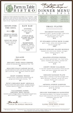 Wethersfield farmers market farm to table menu the o for Table 6 brunch menu