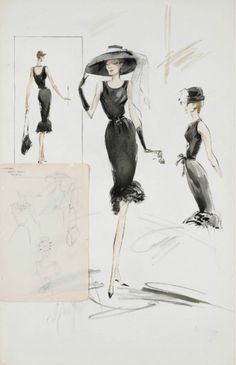 Sketch of Givenchy design for Audrey Hepburn. Breakfast at Tiffany's 1961