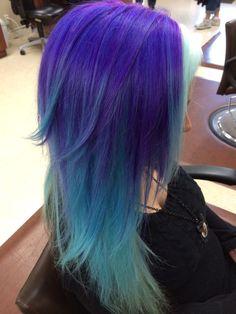 Hair by Bonnie Haydon. Purple and blue. Color melt. #hairstylistbonnie1