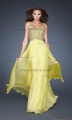 long yellow beaded prom dress