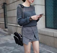 Image of Centenera See-through knit - Grey $60  Centenera See-through knit - Grey   The perfect wool-blend knit featuring a scoop neckline and loose fit. See through shoulder. Looks awesome paired with leather shorts statement skirt.   size: Free