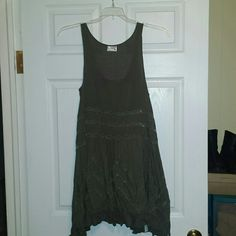 Free People Trapeze Voile & Lace Slip dress NWOT Free People Trapeze Voile & Lace Slip in olive Free People Tops Tunics