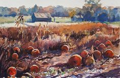 Pumpkin Morning by Christopher Leeper Watercolor ~ 15 x 22