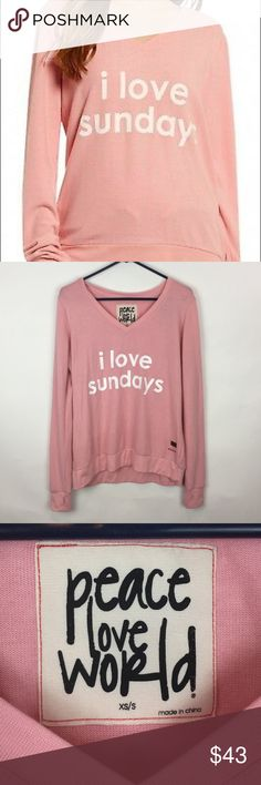 a6c1a2341ab3 NWT Peace Love World Love Sundays Pink Sweater-B11 Extremely soft sweater in  cute pink