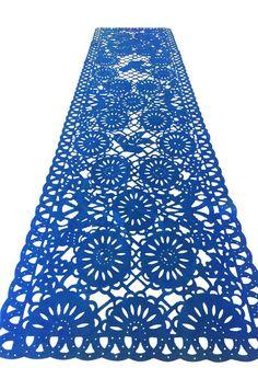 Mexican fabric Table Runner Papel Picado design Navy Blue