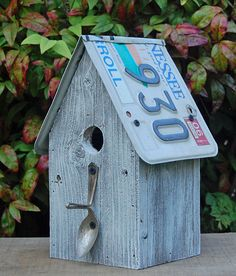 Cute idea - birdhouse with recycled license plates    (on etsy by rural originals, $25.00)