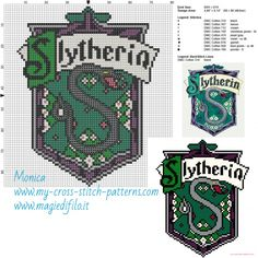 Slytherin cross stitch pattern