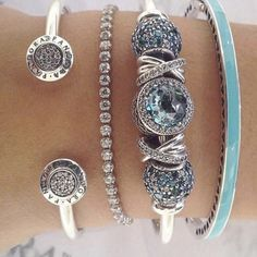 Brighton bangle and bracelet with blue charms