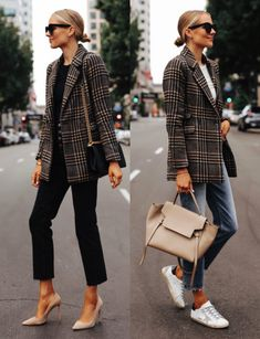 A Perfect Plaid Blazer from Abercrombie: I found the perfect plaid boyfriend blazer that works with any fall outfit. Copy these outfits (one casual, one for work) for a fall weekend or work wear! Source by blazer Look Blazer, Plaid Blazer, Plaid Coat, Black Wool Coat, Striped Blazer, Mode Outfits, Fall Outfits, Fashion Outfits, Fashion Blogs
