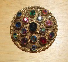 "Vintage Oval Multi Colored Rhinestone Gold Tone Brooch Pin 2 1/4"""
