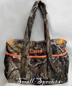 Small Sprouts: Camo Baby bag: such a cute diaper bag. The last name sets it off.