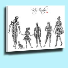 PERSONALISED WORD ART TYPOGRAPHY FAMILY MEMBERS CANVAS BOX FRAMED R