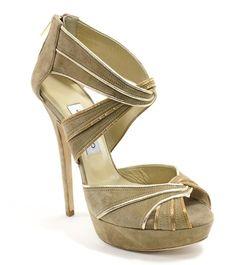 NEW JIMMY CHOO Koko Beige Suede Glitter Platform Sandals Sz 40 10 at www.ShopLindasStuff.com