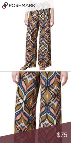 Wide Leg Pants Brand new without tag. Harlyn for Anthropologie. Harlyn - wide leg pants, abstract print - PURE SILK. Anthropologie Pants Wide Leg