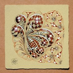 Zentangle by Maria Thomas, Zentangle cofounder on Renaissance tile with brown pitman pen and white and pencil shading