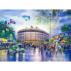 For any sports fan, the old Yankee Stadium – the House that Ruth Built – is an iconic New York City image. Watercolors are the ideal means of reflecting the bright lights that burst out of the open-air stadium and the palpable excitement of fans streaming towards the entrance. The old Yankee Stadium was closed following the 2008 baseball season. The new stadium, which opened its doors in 2009, still bears the old name.