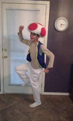 Toad from Super Mario Bros. Super Easy, No Sew, Homemade Halloween Costume