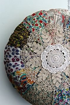 """Here's an idea for all those """"doilies"""" we all have in the drawer! Liberty print cushion and doilies Printed Cushions, Pin Cushions, Pillows, Fabric Crafts, Sewing Crafts, Sewing Projects, Liberty Fabric, Liberty Print, Textiles"""