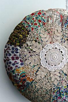 Liberty print cushion and doilies
