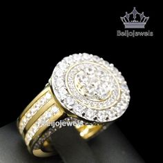 Creative Mens Sterling Silver Rocky Road Lab Diamond Pinky Ring Icy In Yellow Gold Finish Men's Jewelry Rings